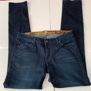 Rich & Skinny Dark Wash Cheetah Print Lining Jeans
